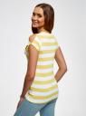 Футболка прямого силуэта с разрезами на рукавах oodji для женщины (желтый), 14701061-1/45475/5210S