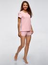 Пижама хлопковая с принтом oodji для женщины (розовый), 56002201-6/46154/4100P - вид 6