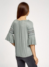 Блузка трикотажная с вышивкой на рукавах oodji #SECTION_NAME# (зеленый), 14207003/45201/6000N - вид 3