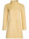 Пальто прямого силуэта из фактурной ткани oodji #SECTION_NAME# (желтый), 10104043/43312/5200N