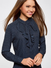 Блузка из струящейся ткани с воланами oodji #SECTION_NAME# (синий), 21411090/36215/7912D - вид 4