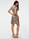 Платье трикотажное с воланами oodji #SECTION_NAME# (зеленый), 14011017/46384/6233E - вид 3