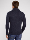 Пуловер фактурной вязки с отложным воротником oodji #SECTION_NAME# (синий), 4L210006M/25700N/7900M - вид 3
