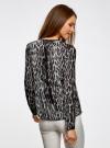 Блузка из струящейся ткани с контрастной отделкой oodji #SECTION_NAME# (серый), 11411059-2/38375/2029A - вид 3