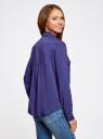 Блузка базовая из вискозы с нагрудными карманами oodji #SECTION_NAME# (синий), 11411127B/26346/7500N - вид 3