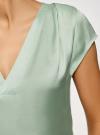 Блузка с коротким рукавом и V-образным вырезом oodji #SECTION_NAME# (зеленый), 11411100/45348/6500N - вид 5