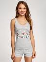 Пижама хлопковая с новогодним принтом oodji #SECTION_NAME# (серый), 56002138-9/47990/2019Z - вид 2