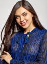 Платье шифоновое с асимметричным низом oodji для женщины (синий), 11913032/38375/7829A