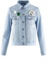 Куртка джинсовая со значками oodji #SECTION_NAME# (синий), 11109031/46654/7000W