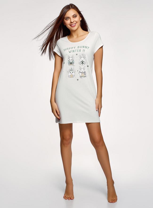 Платье домашнее с принтом oodji #SECTION_NAME# (белый), 59801006-21/46154/1260P