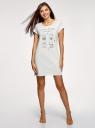 Платье домашнее с принтом oodji #SECTION_NAME# (белый), 59801006-21/46154/1260P - вид 2