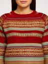 Джемпер вязаный прямого силуэта oodji #SECTION_NAME# (красный), 63807296/43807/4557J - вид 4