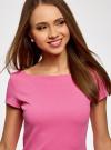 Платье из фактурной ткани с вырезом-лодочкой oodji #SECTION_NAME# (розовый), 14001117-11B/45211/4700N - вид 4