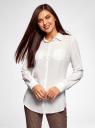Блузка с нагрудными карманами и регулировкой длины рукава oodji для женщины (белый), 11400355-9B/42807/1200N
