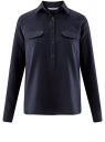 Рубашка хлопковая с нагрудными карманами oodji #SECTION_NAME# (синий), 13L11009/45608/7900N