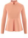 Блузка хлопковая с баской oodji #SECTION_NAME# (розовый), 13K00001-1B/42083/4300N