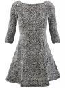 Платье трикотажное принтованное oodji #SECTION_NAME# (серый), 14001150-3/33038/1229A