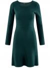 Платье вязаное с расклешенным низом oodji для женщины (зеленый), 63912223/46096/6E00N