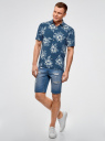 Рубашка прямая с цветочным принтом oodji #SECTION_NAME# (синий), 3L400003M/48205N/7974F - вид 6