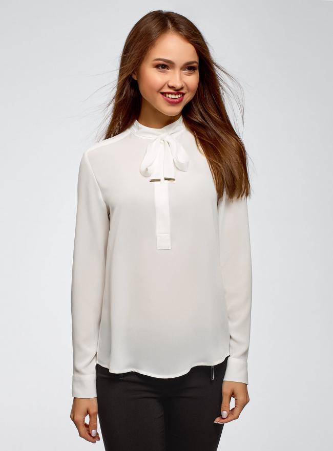 Блузка свободного силуэта с завязками oodji #SECTION_NAME# (белый), 21411094B/48854/1200N