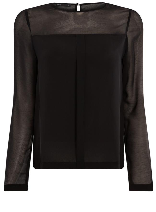 Блузка из шифона с длинным рукавом oodji для женщины (черный), 11411078/32823/2900N