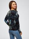 Жакет вязаный с цветочным принтом oodji #SECTION_NAME# (черный), 73212400/45755/2919F - вид 3