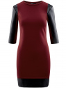Платье с отделкой из искусственной кожи oodji для женщины (красный), 14001143-2/16564/4929B