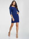 Платье трикотажное с рукавом 3/4 oodji #SECTION_NAME# (синий), 24001100-3/45284/7500N - вид 6