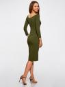 Платье облегающее с вырезом-лодочкой oodji #SECTION_NAME# (зеленый), 14017001-6B/47420/6800N - вид 3