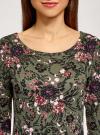 Платье трикотажное с вырезом-капелькой на спине oodji #SECTION_NAME# (зеленый), 24001070-5/15640/6641F - вид 4