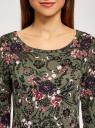 Платье трикотажное с вырезом-капелькой на спине oodji для женщины (зеленый), 24001070-5/15640/6641F