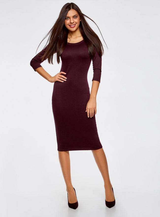 Платье облегающее с вырезом-лодочкой oodji для женщины (красный), 14017001/42376/4900N
