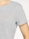 Футболка хлопковая с принтом oodji для женщины (серый), 14701080-32/44135N/2040Z