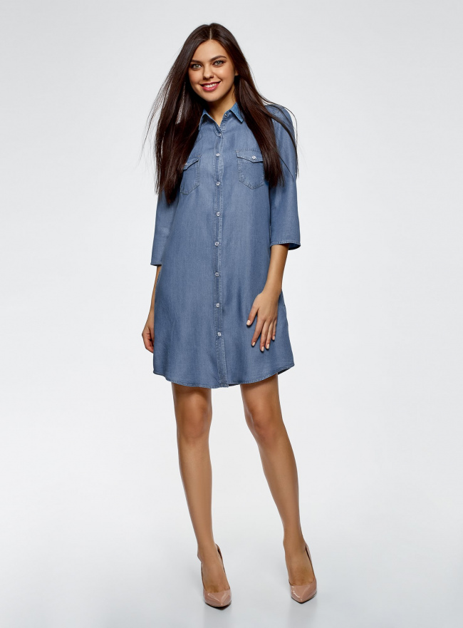 Платье-рубашка из лиоцелла oodji для женщины (синий), 12909042B/45372/7000W