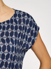 Блузка принтованная из вискозы oodji #SECTION_NAME# (синий), 11400345-1/24681/7954E - вид 5