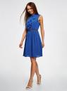 Платье из струящейся ткани с жабо oodji #SECTION_NAME# (синий), 21913018/36215/7500N - вид 6