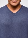 Пуловер базовый с V-образным вырезом oodji #SECTION_NAME# (синий), 4B212007M-1/34390N/7500M - вид 4