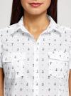 Рубашка хлопковая с нагрудными карманами oodji #SECTION_NAME# (белый), 11402084-3B/12836/1029Q - вид 4