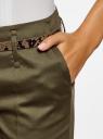 Брюки-чиносы с ремнем oodji для женщины (зеленый), 21703094-3/33482/6800N