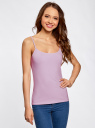 Топ трикотажный на тонких бретелях oodji для женщины (фиолетовый), 14305023-1B/46147/8000N