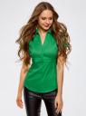 Рубашка с V-образным вырезом и отложным воротником oodji #SECTION_NAME# (зеленый), 11402087/35527/6D00N - вид 2