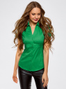 Рубашка с V-образным вырезом и отложным воротником oodji для женщины (зеленый), 11402087/35527/6D00N