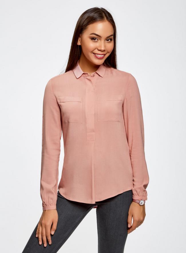 Блузка вискозная с нагрудными карманами oodji для женщины (розовый), 21411126/26346/4A01N
