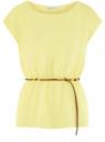 Блузка из вискозы с пояском oodji #SECTION_NAME# (желтый), 11400345-5B/48756/5200N