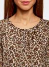 Блузка свободного кроя с вырезом-капелькой oodji #SECTION_NAME# (бежевый), 21400321-2/33116/3349E - вид 4