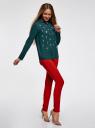 Блузка из струящейся ткани с украшением из страз oodji #SECTION_NAME# (зеленый), 11411128/36215/6C00N - вид 6
