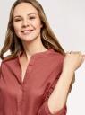 Рубашка хлопковая с воротником-стойкой oodji для женщины (красный), 23L12001B/45608/4901N
