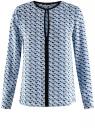 Блузка из струящейся ткани с контрастной отделкой oodji #SECTION_NAME# (синий), 11411059B/43414/7029G