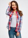 Блузка клетчатая прямого силуэта oodji для женщины (разноцветный), 11411131/46090/4574C - вид 2