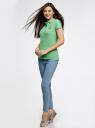 Поло из ткани пике с вышивкой oodji для женщины (зеленый), 19301001-5/46161/6500P